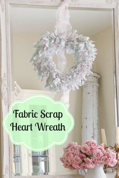 Valentine Fabric Scrap Heart Wreath