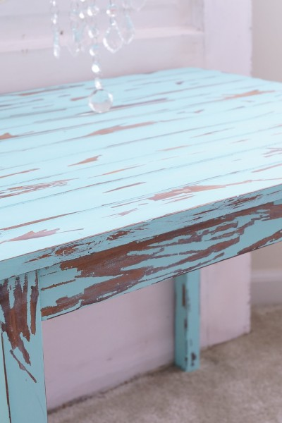 A great way to add authentic patina is to distress furniture using vinegar.