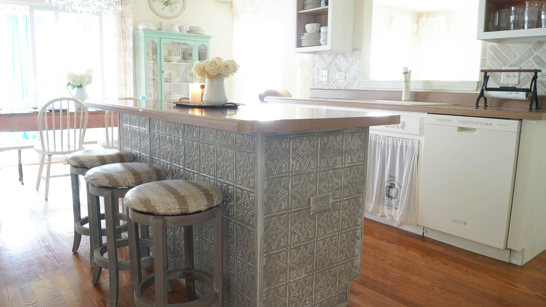 Faux Tin Ceiling Tiles Kitchen Island - White Lace Cottage