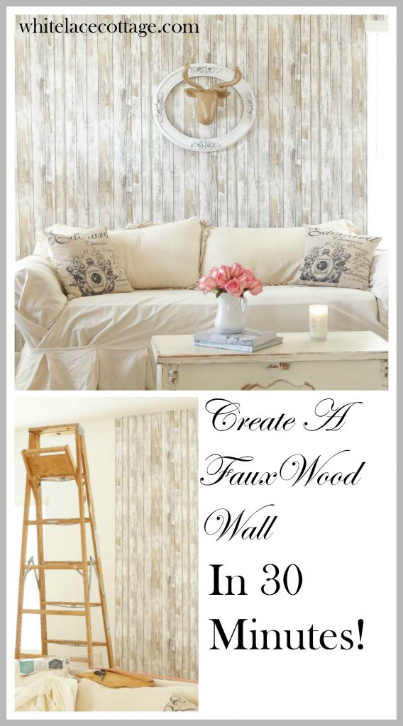 Reusable Wallpaper Faux Wood Accent Wall White Lace Cottage